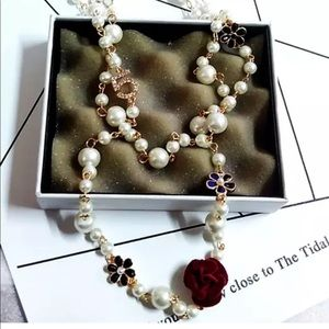 Jewelry - CoCo Number 5 Red Camellia Flower Pearl Necklace